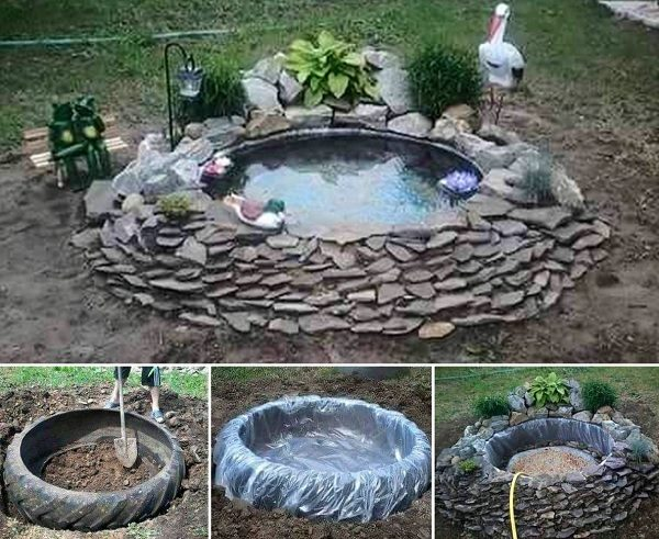 Pond Made From an Old Tractor Tyre