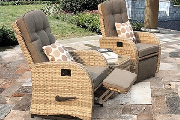 Reclining Bistro Rattan Garden Furniture Set