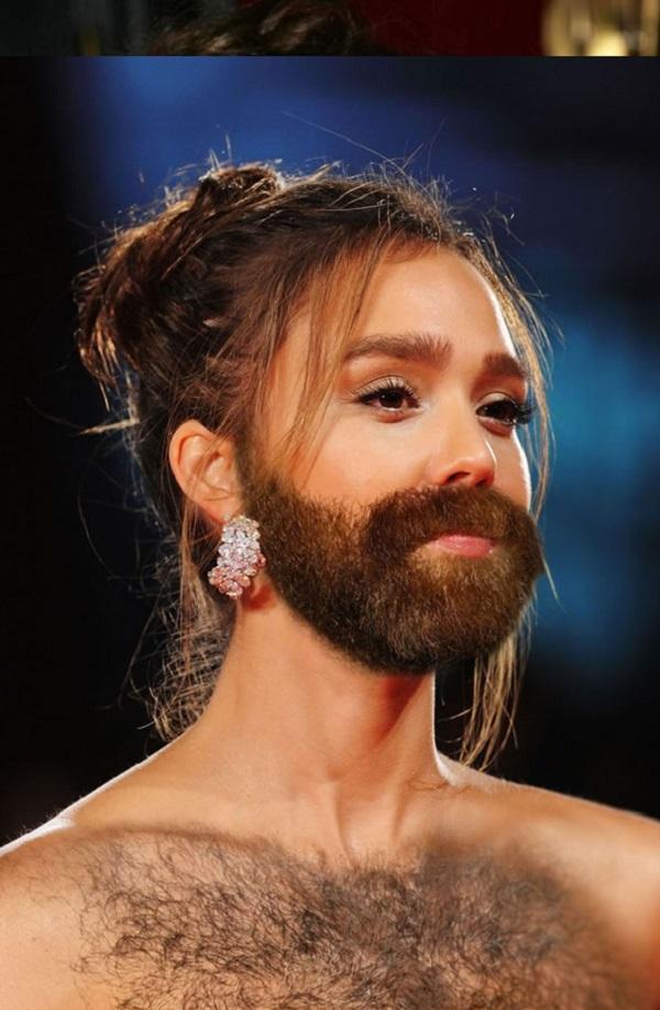 Jessica Alba with a Beard