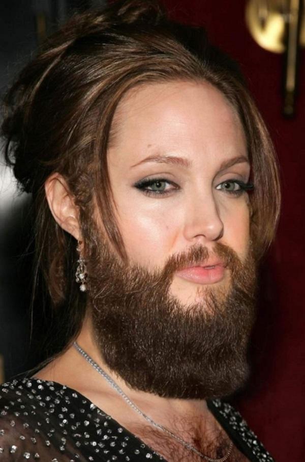 Angelina Jolie with a Beard
