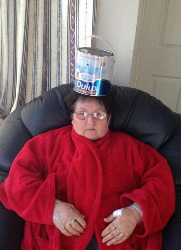 Tin of Paint on Nan's Head