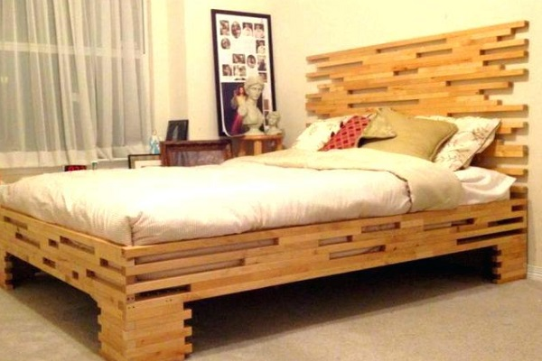 A Bed Made From Reclaimed Wood