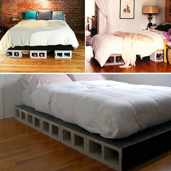 A Bed Made From Cinder Blocks