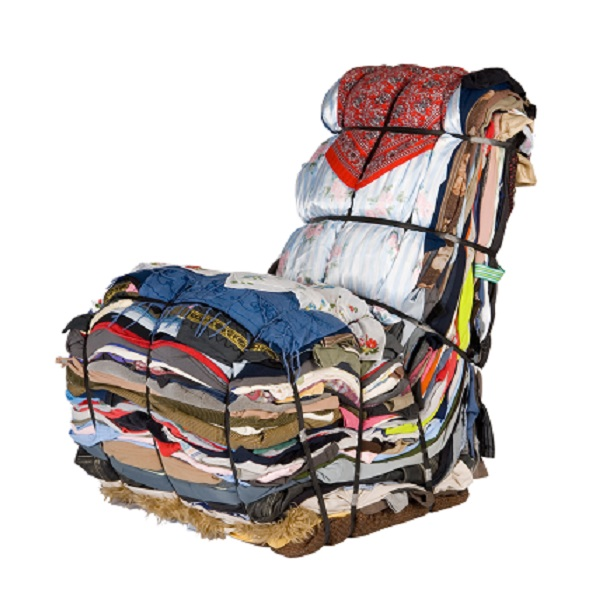 An Armchair Made From Recycled Clothes and Rags