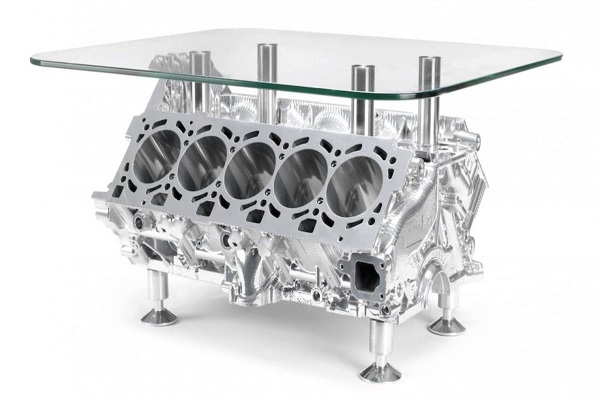 A Coffee Table Made From Recycled Car Engine