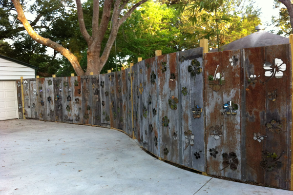 A Fence Made From Tin Roofing