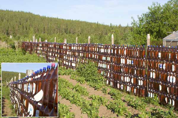 A Fence Made From Glass Bottles