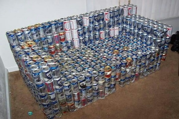 A Sofa Made From Beer Cans