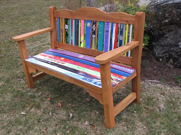A Garden Bench Made From Recycled Skis
