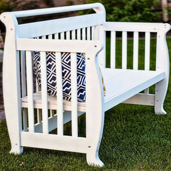 A Garden Bench Made From a Recycled Babies Bed