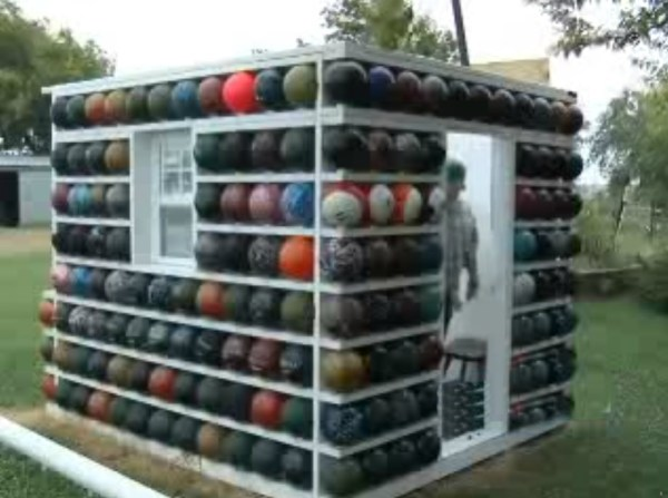 A Garden Shed Made From Bowling Balls