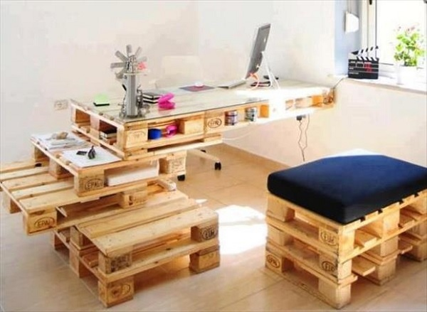 An Office Desk Made From Wooden Pallets