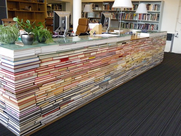 An Office Desk Made From Books