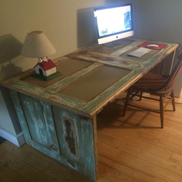 An Office Desk Made From An Old Door