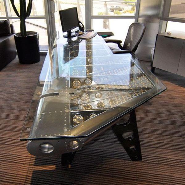 An Office Desk Made From An Aircraft Wing