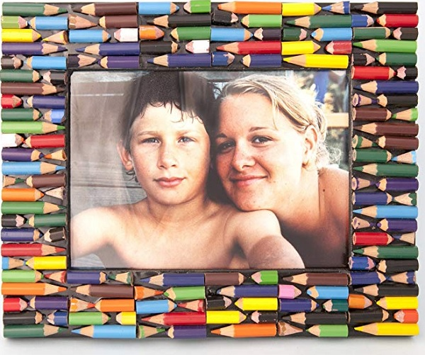A Picture Frame Made From Recycled Colouring Pencils