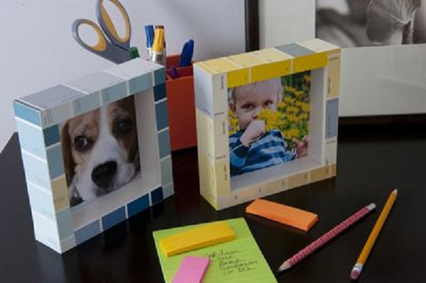 A Picture Frame Made From Recycled Paint Sample Cards