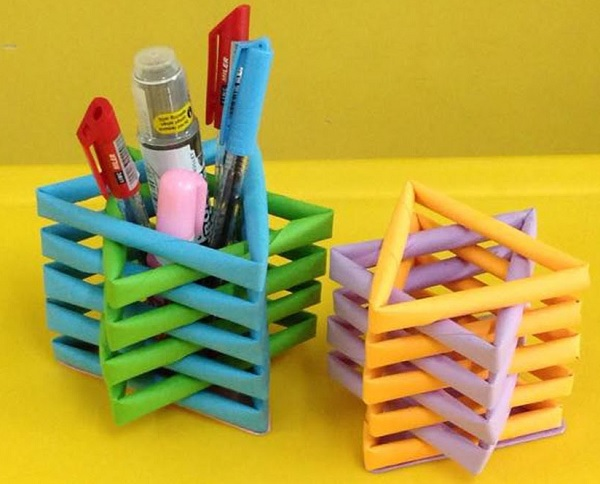 A Stationery Holder Made From Rolled Paper