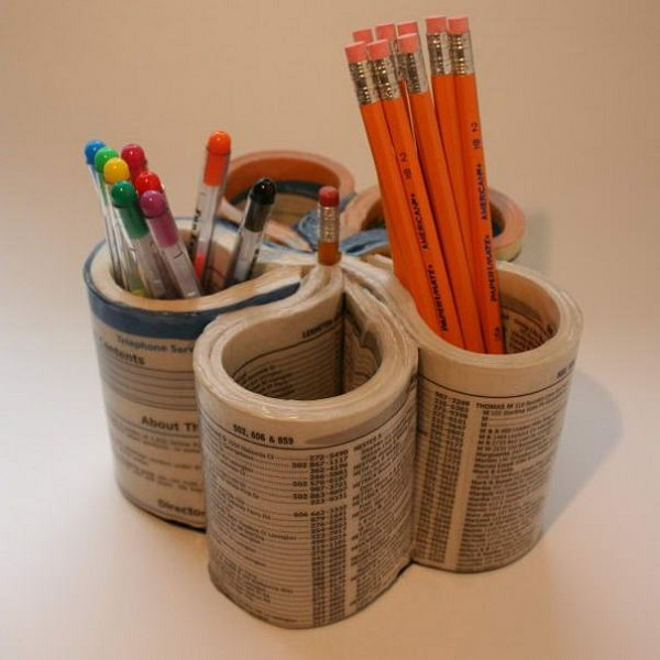 A Stationery Holder Made From a Phone Book