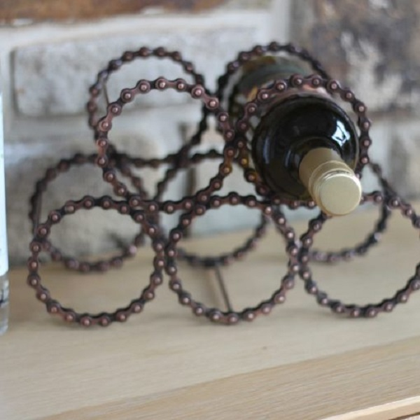A Wine Rack Made From Bicycle Chain