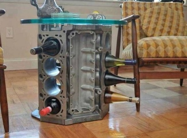 A Wine Rack Made From a V8 Engine