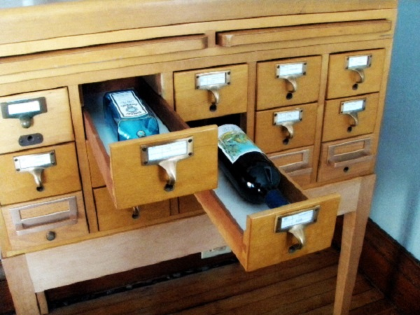 A Wine Rack Made From a Card Catalogue