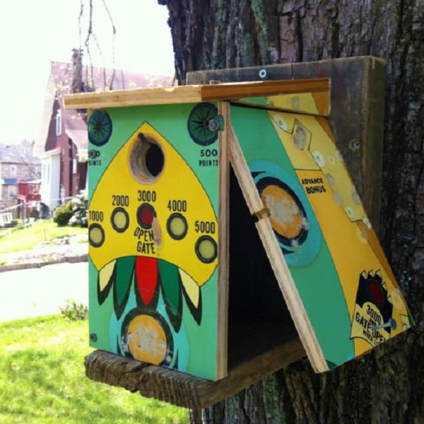A Birdhouse Made From a Pinball Table