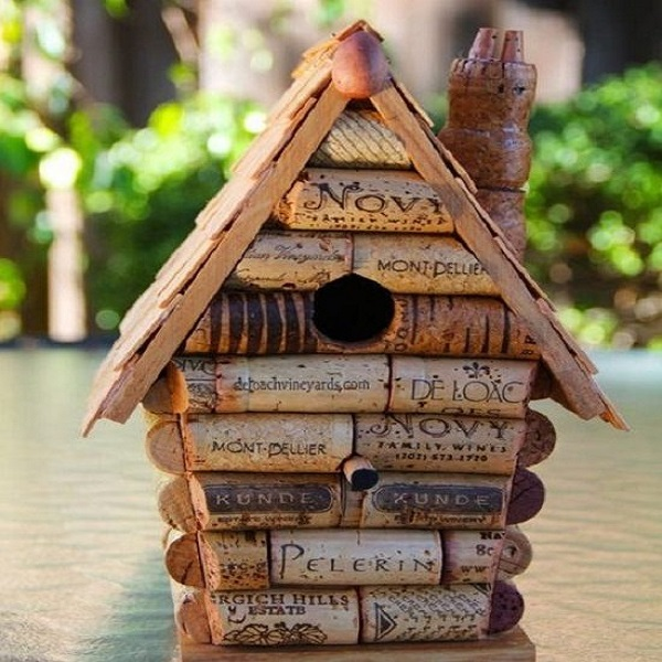 A Birdhouse Made From Bottle Corks