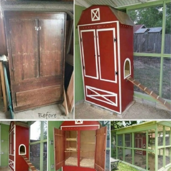 A Chicken Coop Made From a Wardrobe