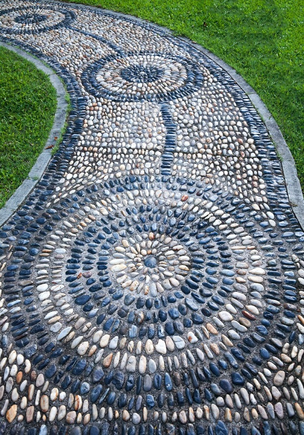 A Garden Path Made With Pebbles