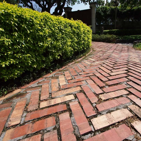 A Garden Path Made With Bricks