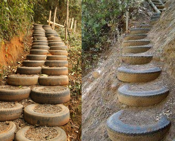 A Staircases Made From Tyres