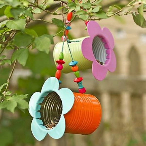 A Bird Feeder Made From Tin Cans