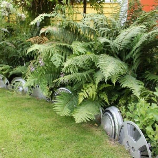 A Garden Border Made From Wheel Trims