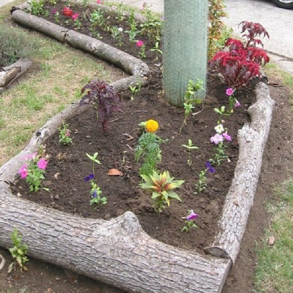 A Garden Border Made From Logs