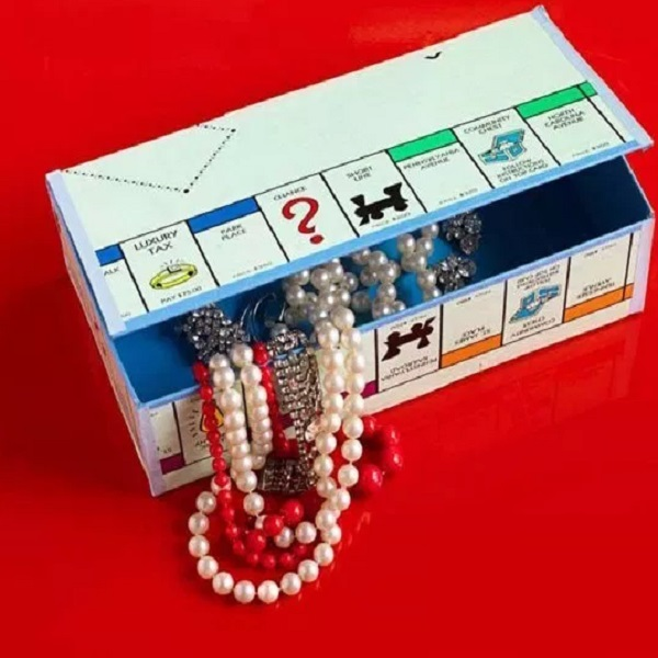 A Jewellery Box Made From a Monopoly Game Board