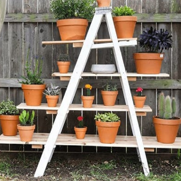 Metal Ladder Turned into Plant Stand