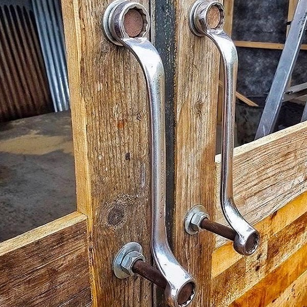 Spanner Turned into Door Handles