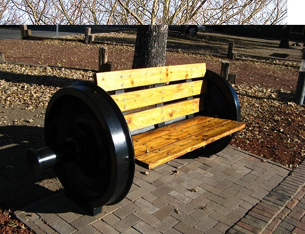 Train Wheel Turned into a Bench