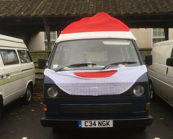 Festive Van With Santa Hat on
