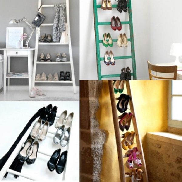 Wooden Ladders Turned into a Shoe Holder (Shoe Organiser)