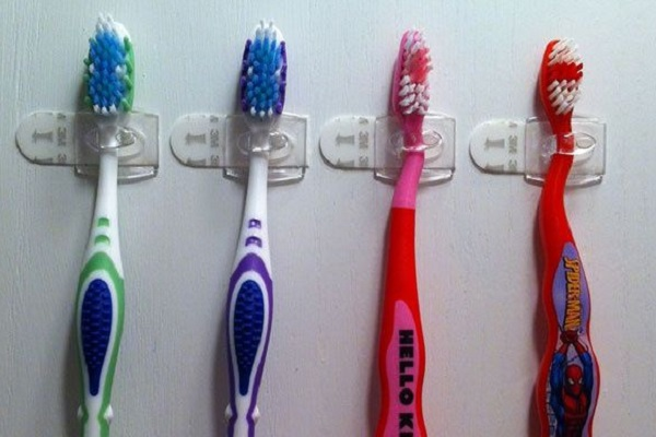 Command Hooks Turned into Toothbrush Holders