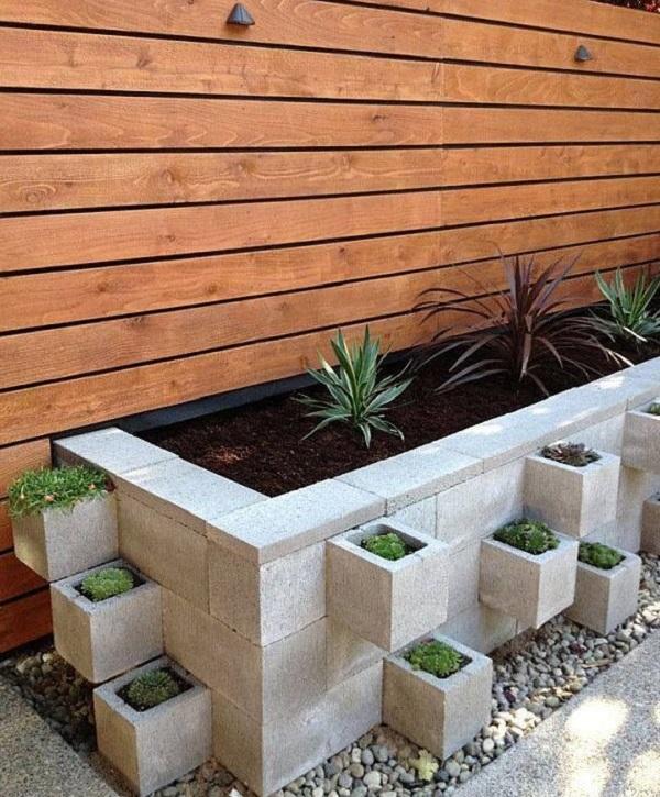 Large Garden Planter Made From Cinder Blocks