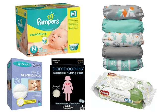 Newborn Necessities - Diapers Wipes Breast Pads