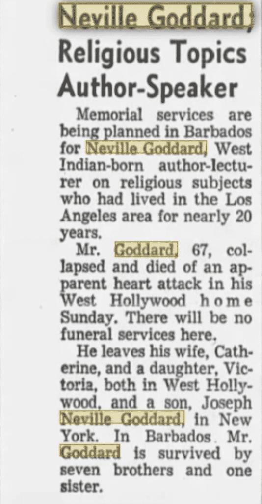 image of Neville Goddard's obituary