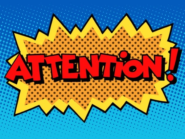 image of the word attention