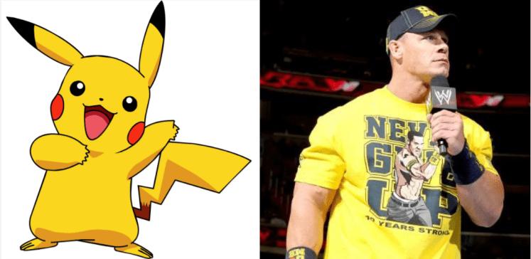 Pikachu John Cena 1024x499 - Which Pokémon Resemble WWE Superstars?