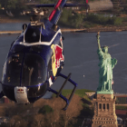 Red Bull Fly A Helicopter Upside-Down Over New York City image of helicopter