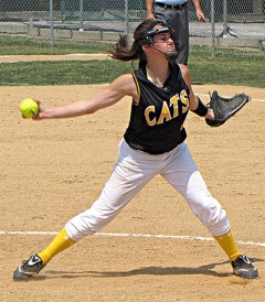 Sydnee Rushing pitching in last Saturday's 10-0 win over Galatia-Thompsonville in the sectional championship game. ~ photo provided
