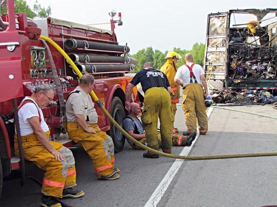 Vienna fire fighters taking a break